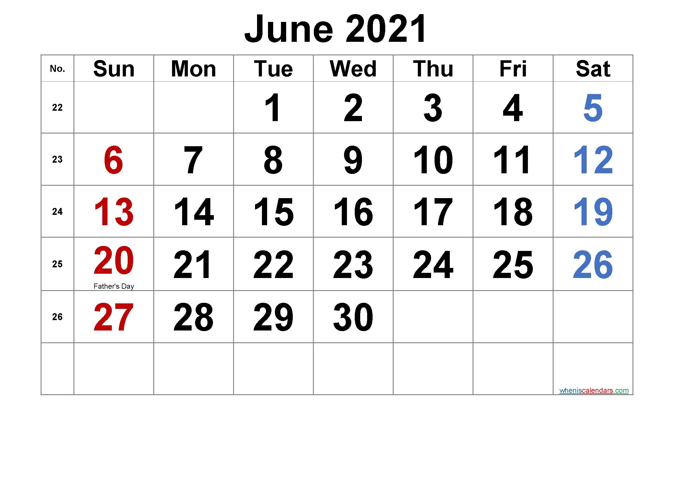 Free Printable June 2021 Calendar In 2020 | Calendar