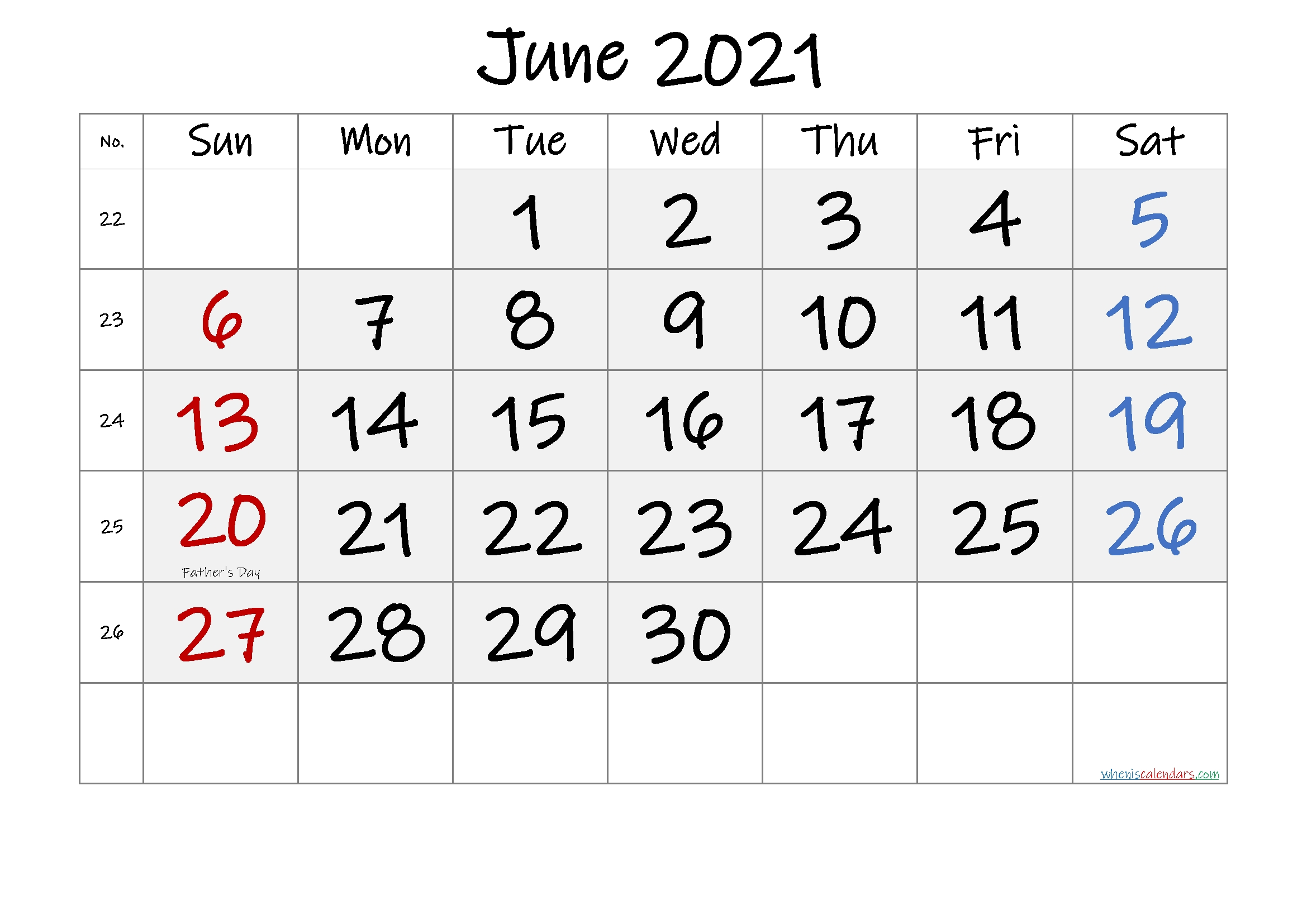 Free Printable June 2021 Calendar In 2020 | Printable