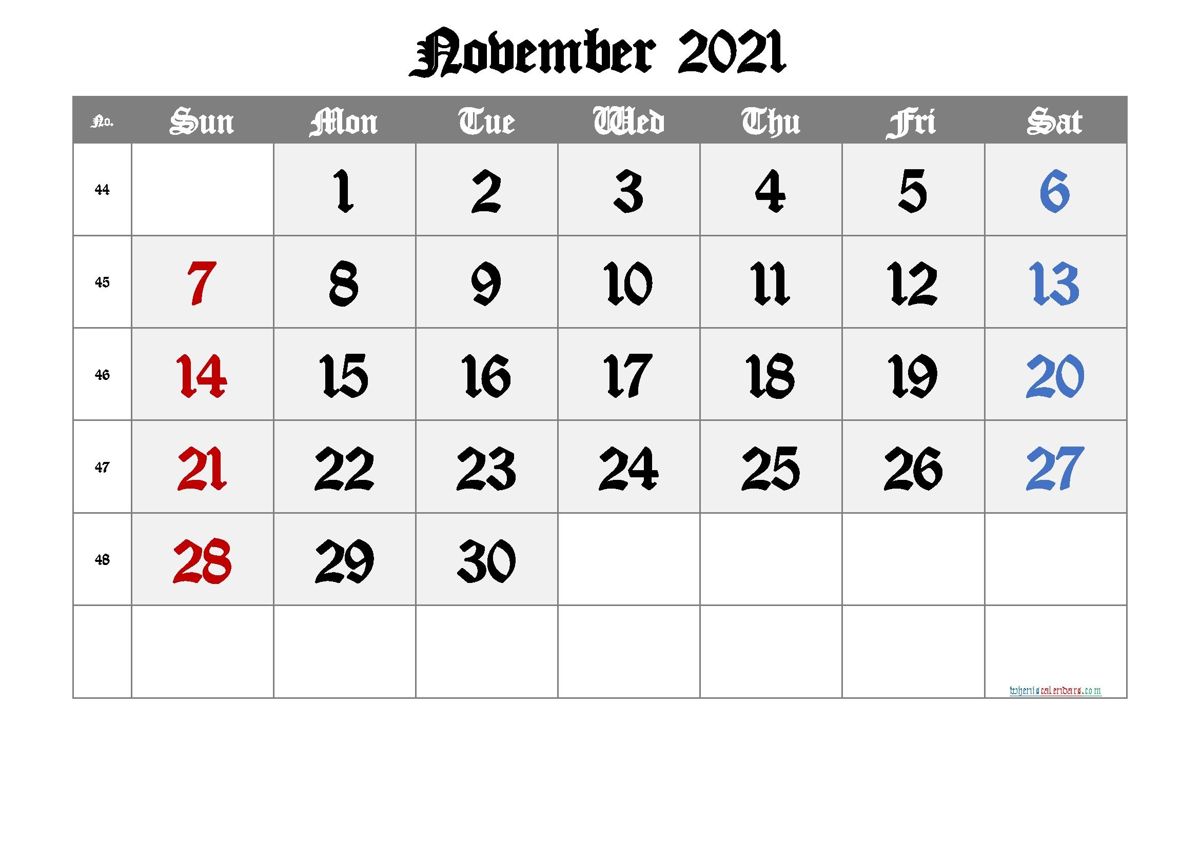 Free Printable November 2021 Calendar (Premium) In 2020