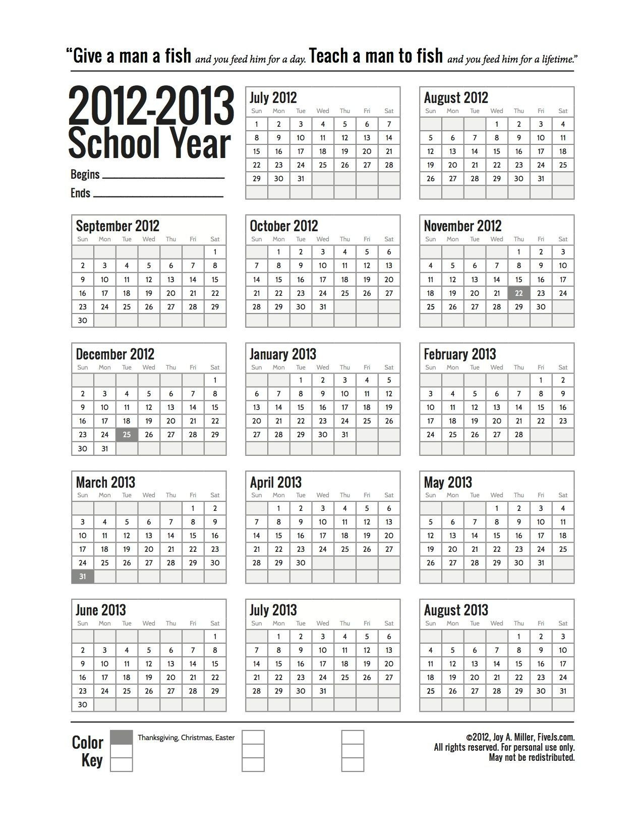 Free Printable School Calendar For 2020-2021 - Five J'S
