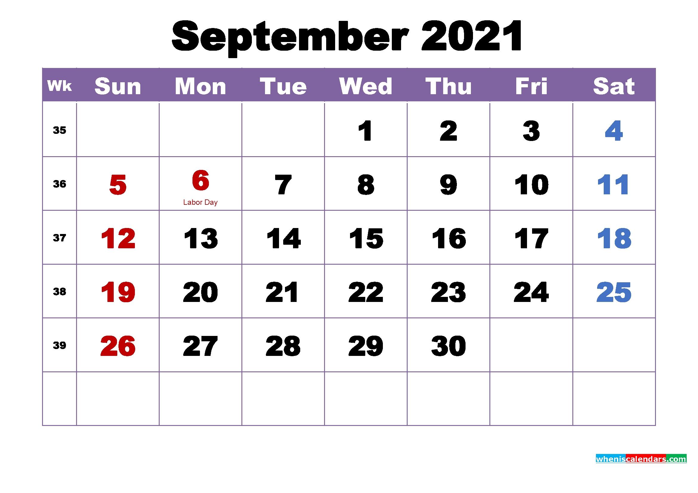 Free Printable September 2021 Calendar Wallpaper – Free