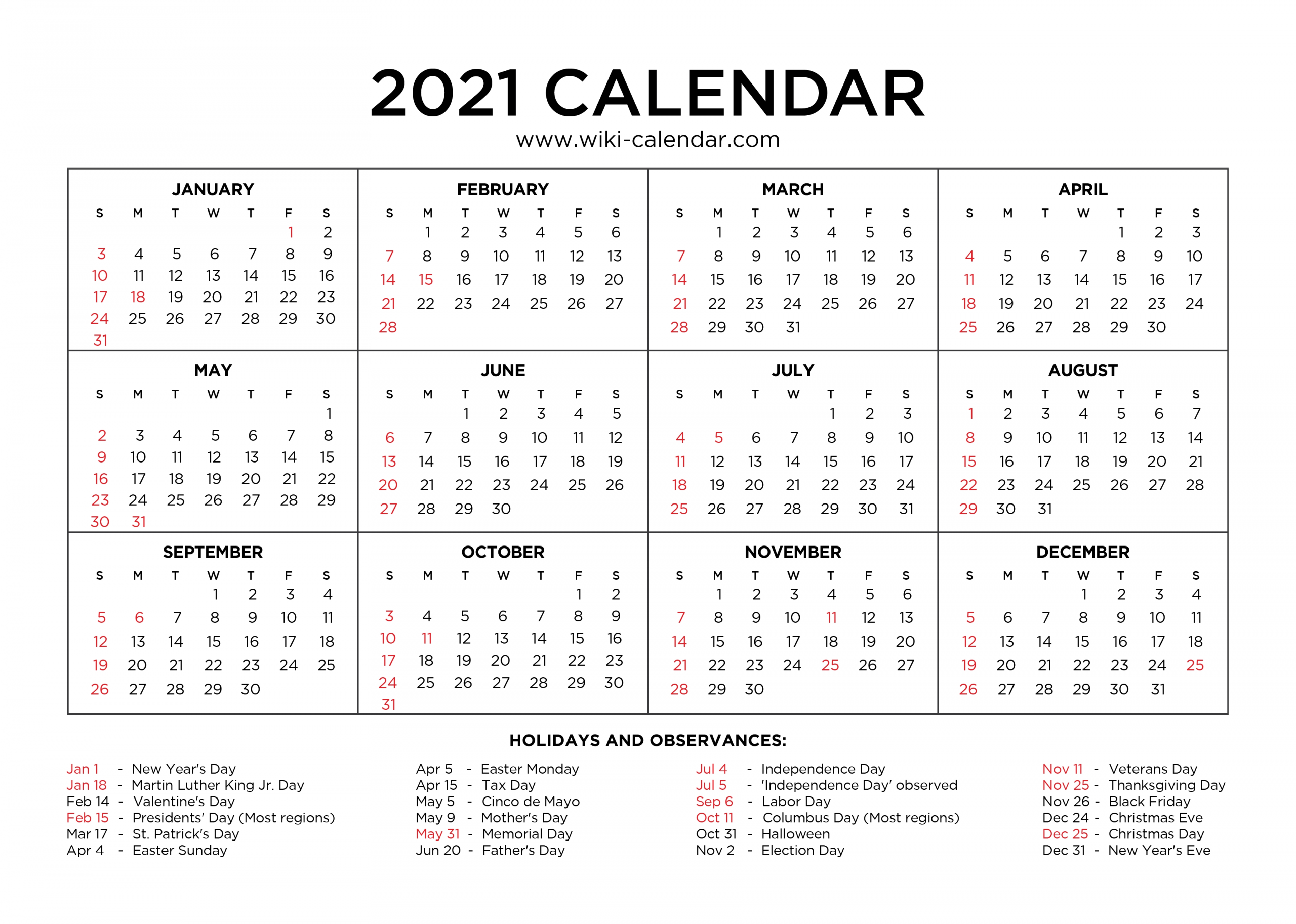 Create Your Printable Calendar 2021 No Download   Get Your ...