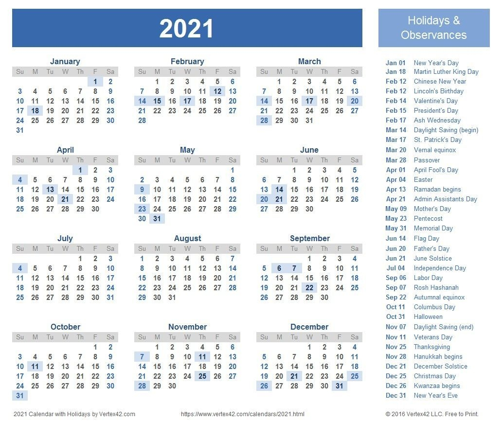 Free Yearly Calendar 2021 Portrait Position – Welcome To