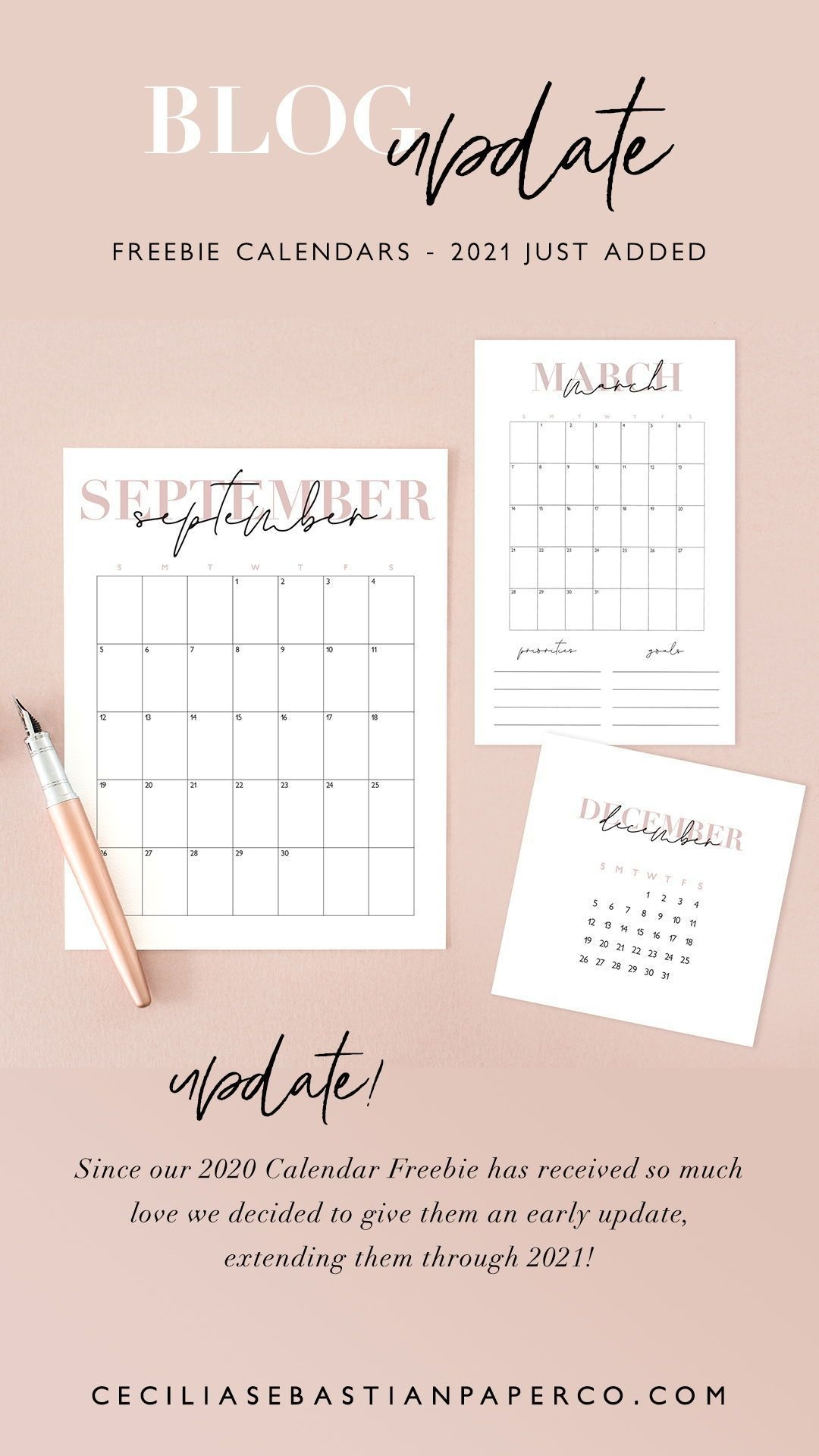 Freebie 2020 + 2021 Calendars | Ceciliasebastianpaperco