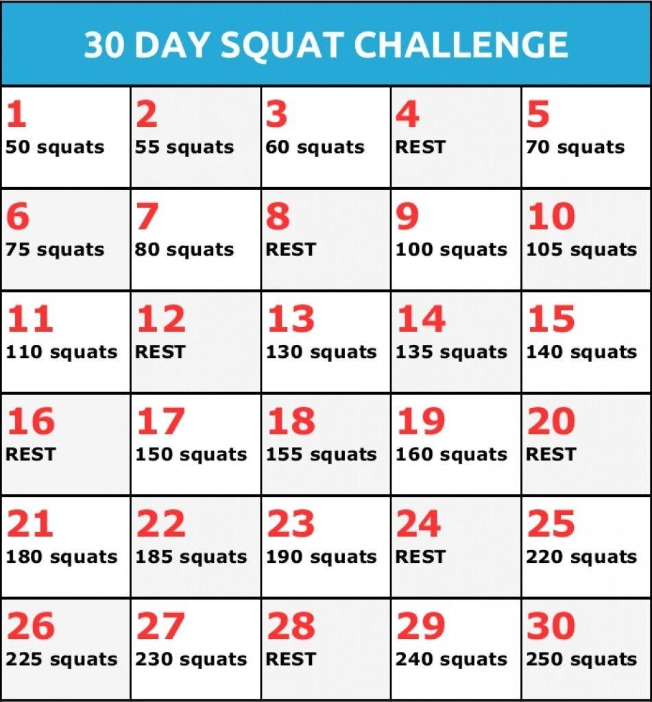 Fresh 30 Day Squat Challenge Calendar Printable   Free
