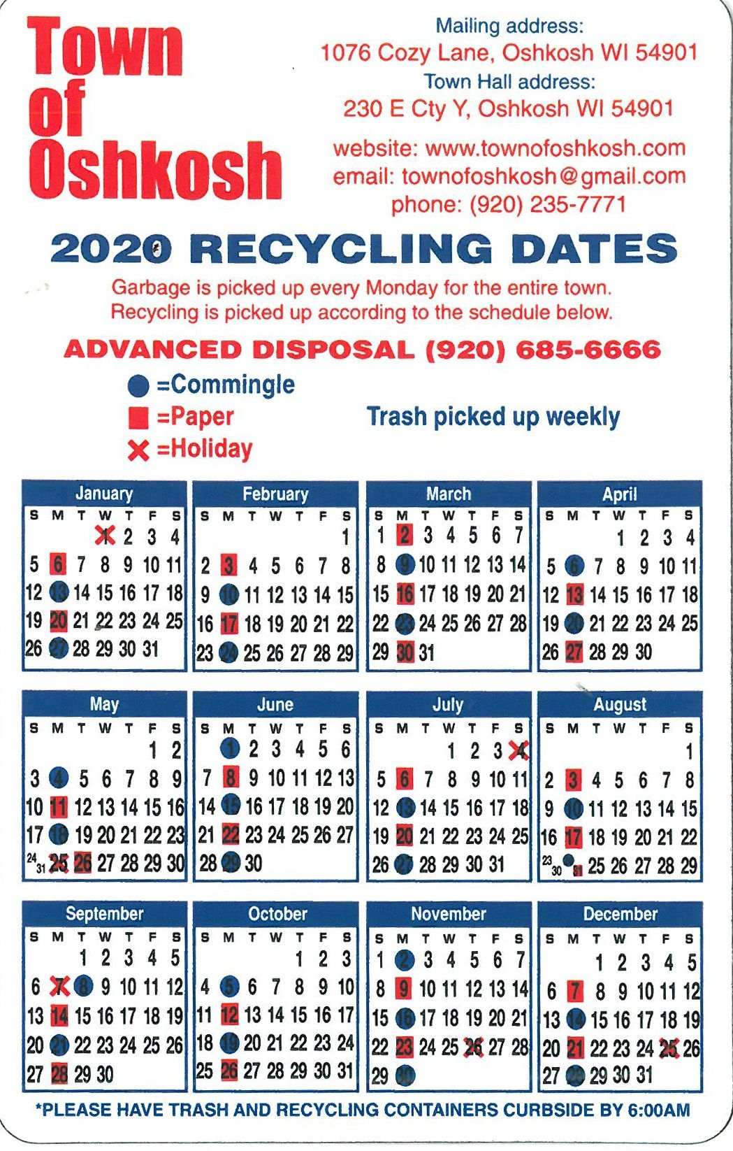 Garbage And Recycle   Town Of Oshkosh, Winnebago County