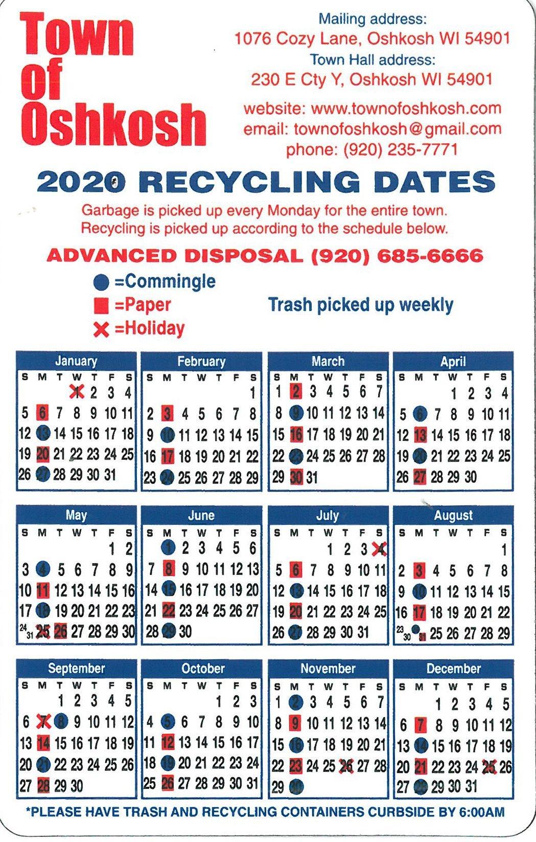 Garbage And Recycle | Town Of Oshkosh, Winnebago County