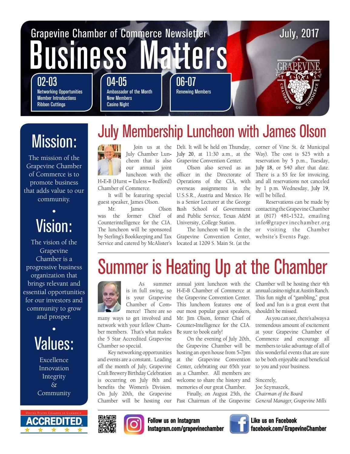 Grapevine Chamber Business Matters Newsletter July 2017 By