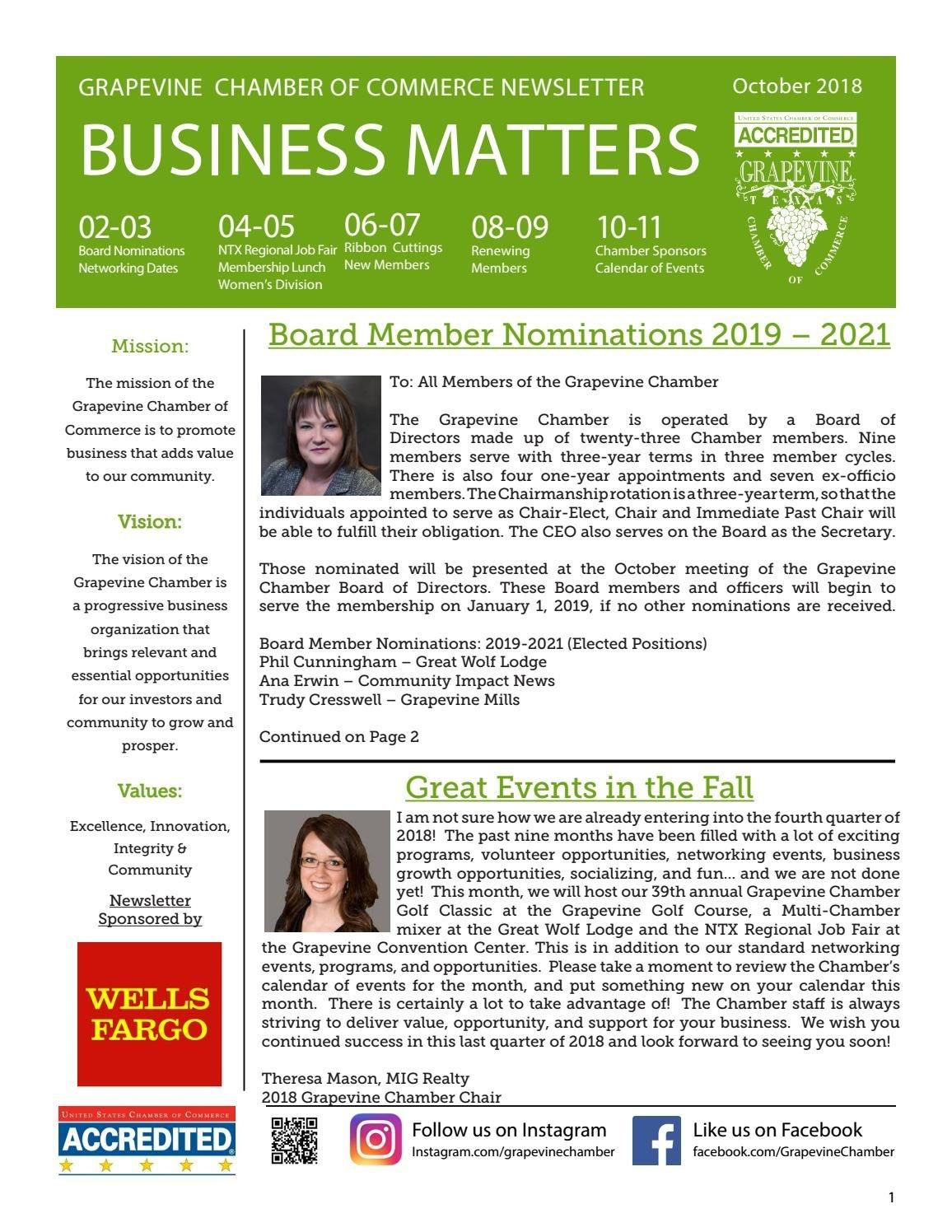 Grapevine Chamber Business Matters Newsletter October 2018