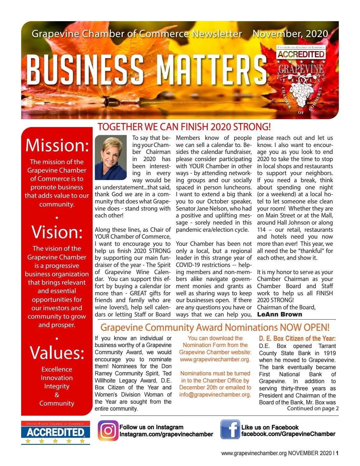 Grapevine Chamber November 2020 Newsletter By Grapevine