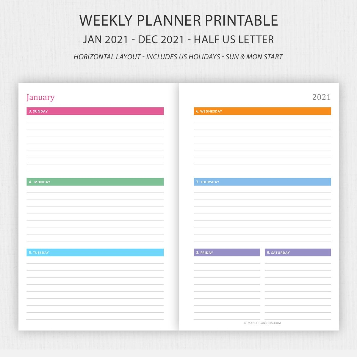 Half Letter Weekly Planner 2021 Horizontal Layout