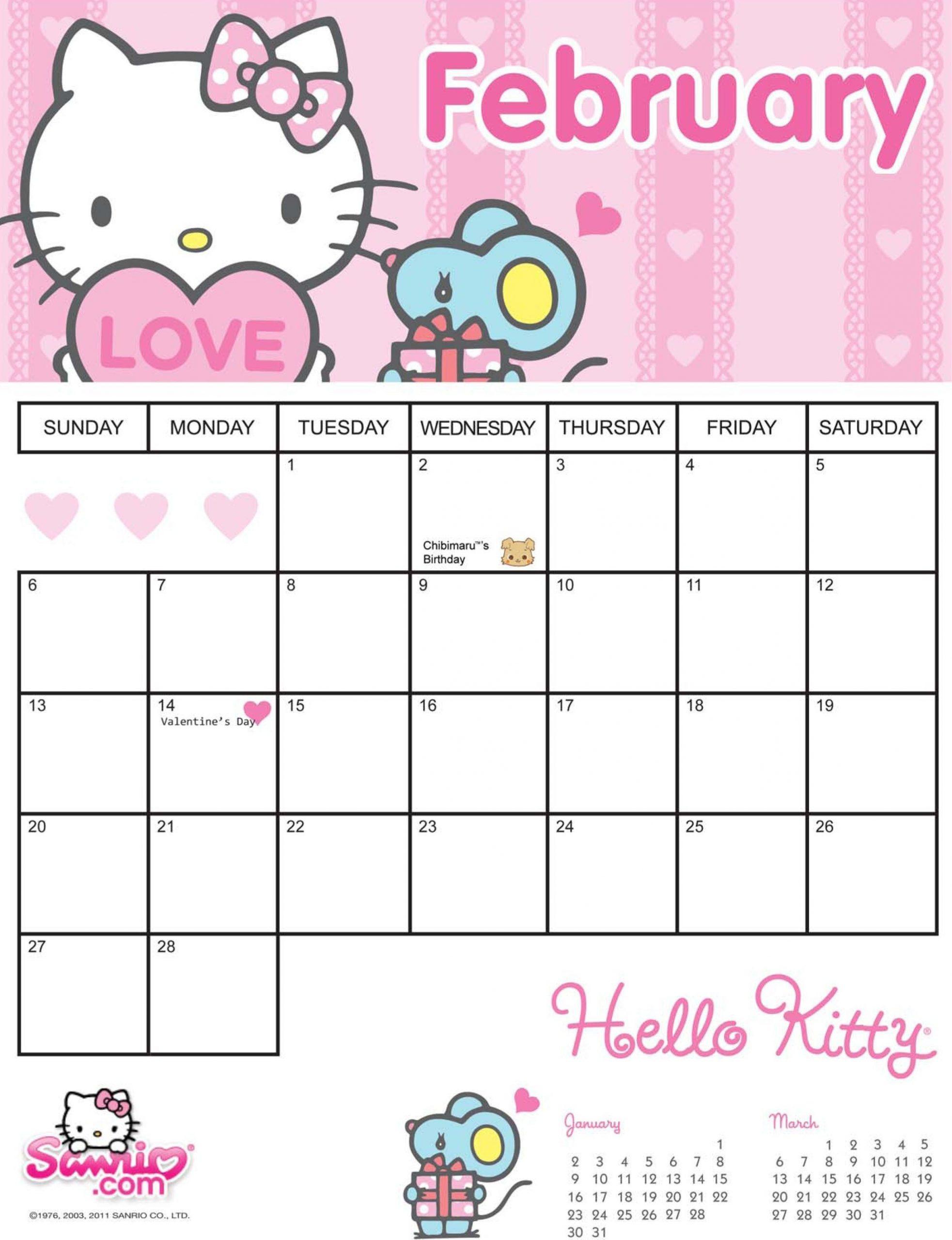 Hello Kitty February 2011 Printable Calendar   Printable