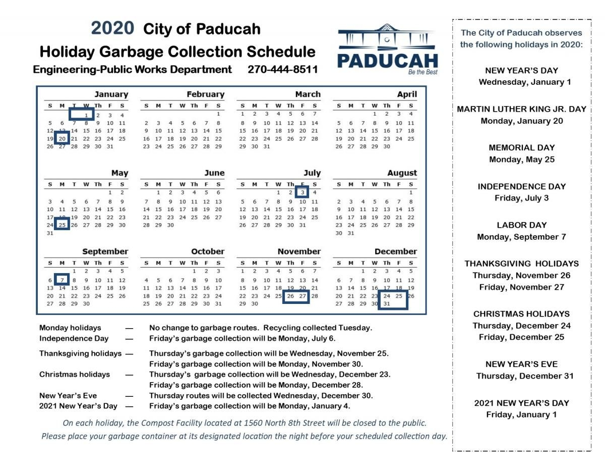 Holiday Schedule   City Of Paducah