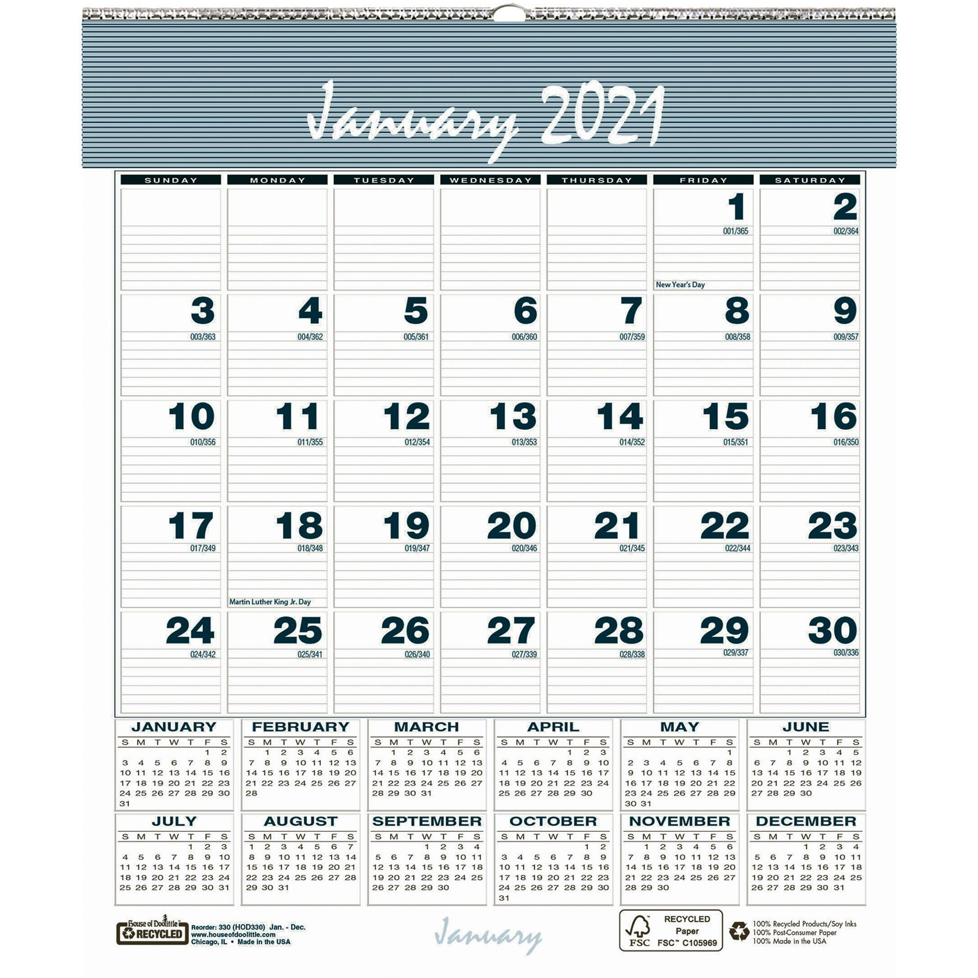 House Of Doolittle Bar Harbor Monthly Wall Calendar - Julian Dates -  Monthly - 1 Year - January 2021 Till December 2021 - 1 Month Single Page  Layout -