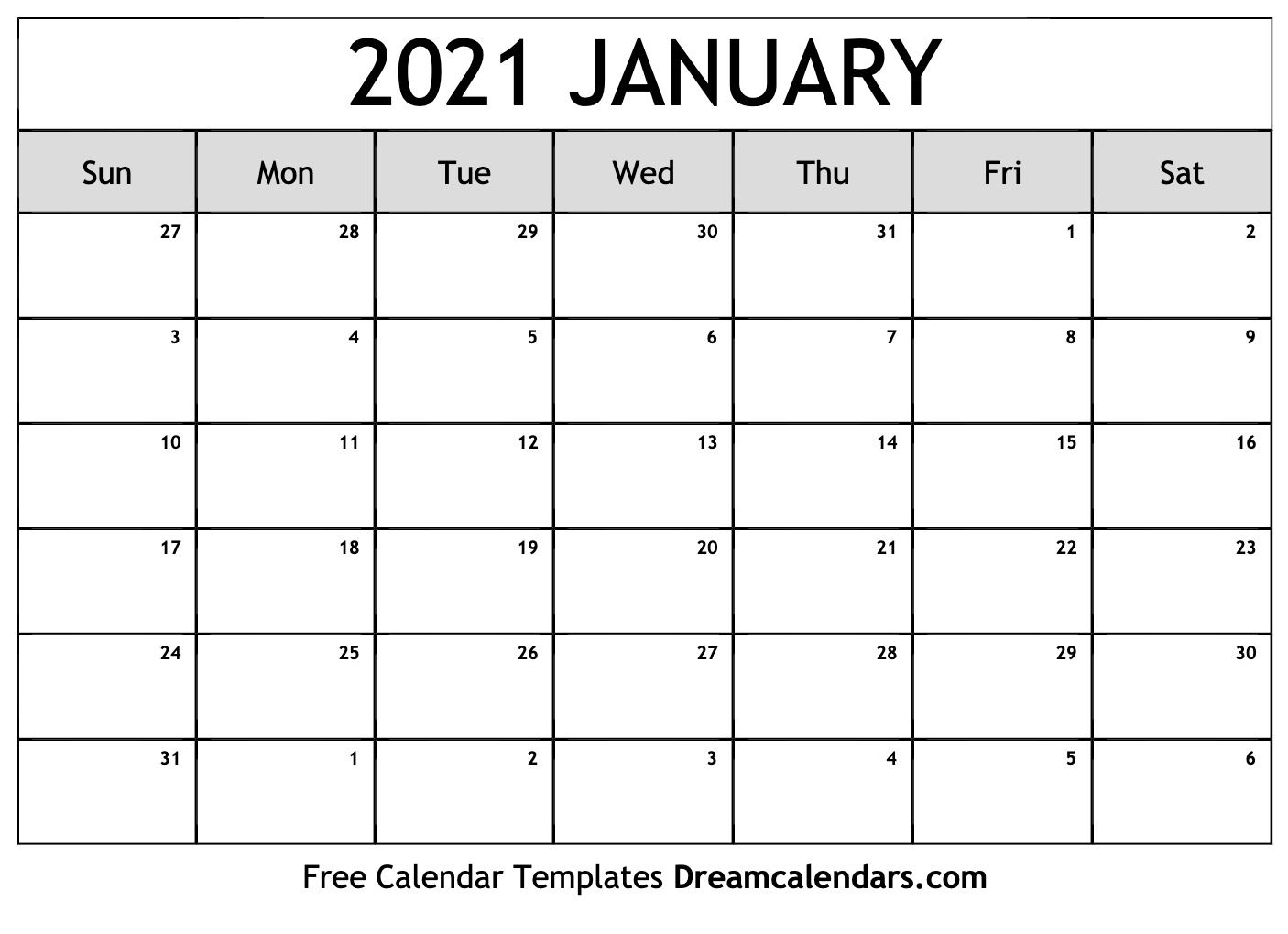 January 2021 Calendar   Free Blank Printable Templates