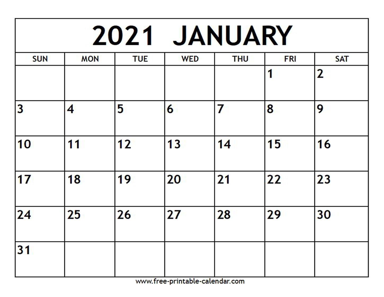 January 2021 Calendar - Free-Printable-Calendar