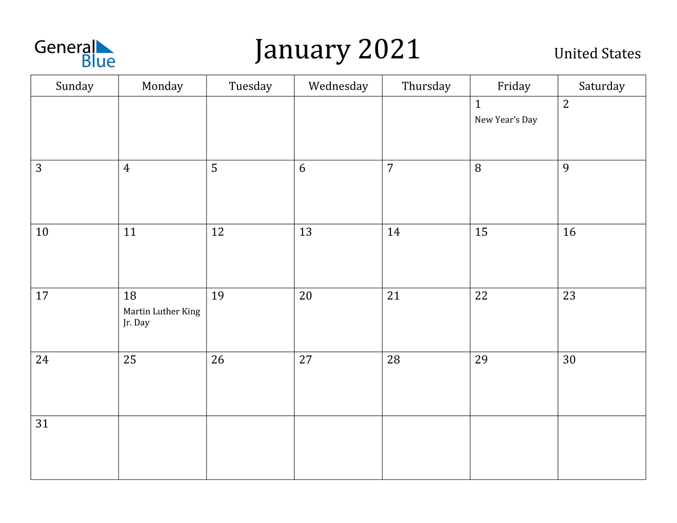 January 2021 Calendar - United States