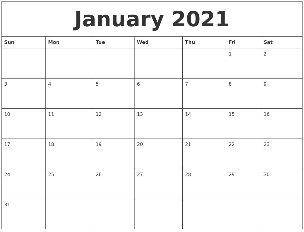 January 2021 Free Weekly Calendar