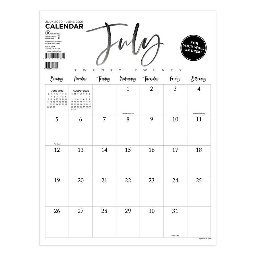July 2020-June 2021 9X12 Handwritten Script Mini Monthly Art Poster Calendar