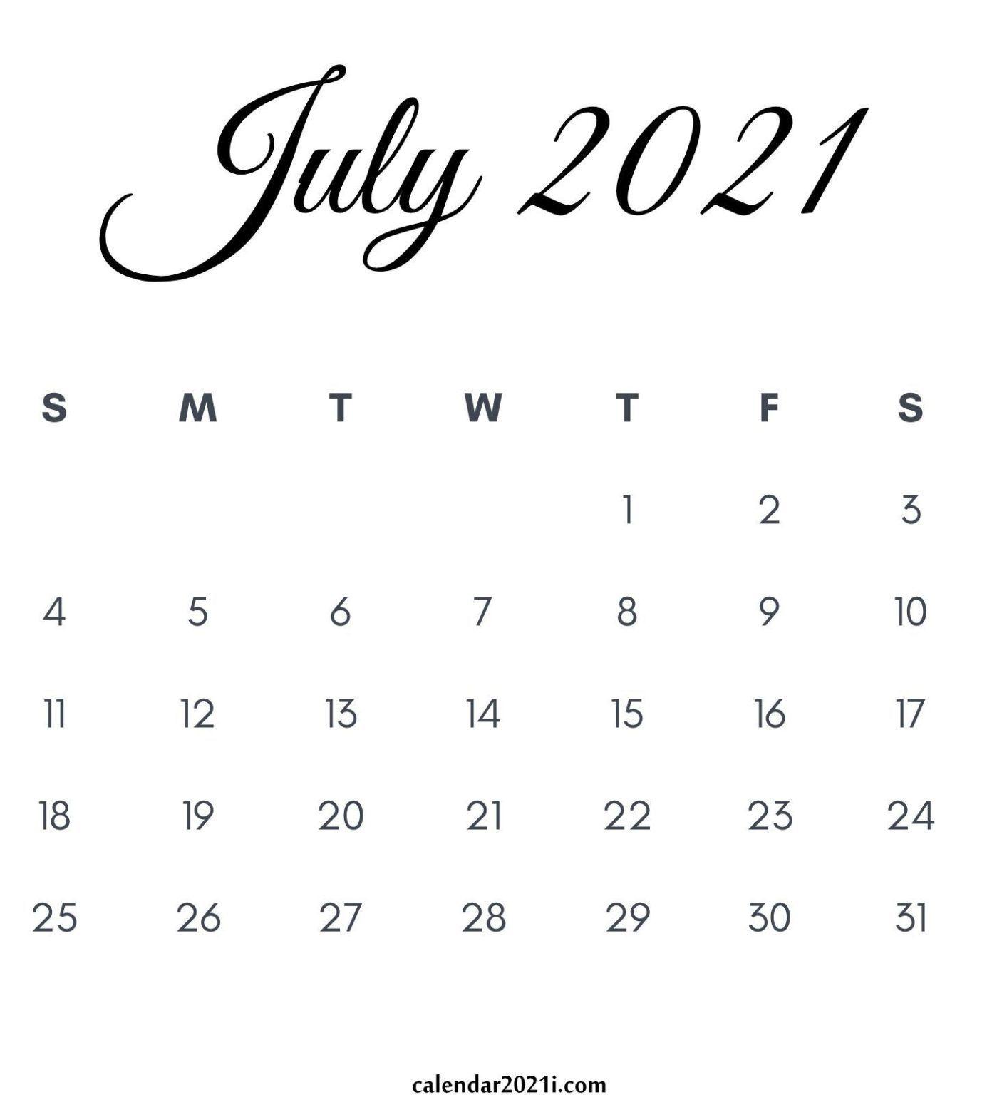 July 2021 Calendar Printable In 2020 | Monthly Calendar