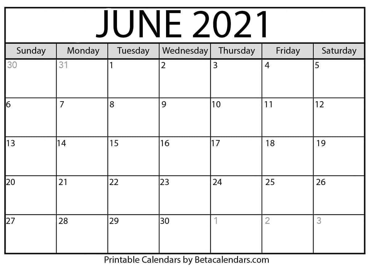 June 2021 Calendar   Blank Printable Monthly Calendars