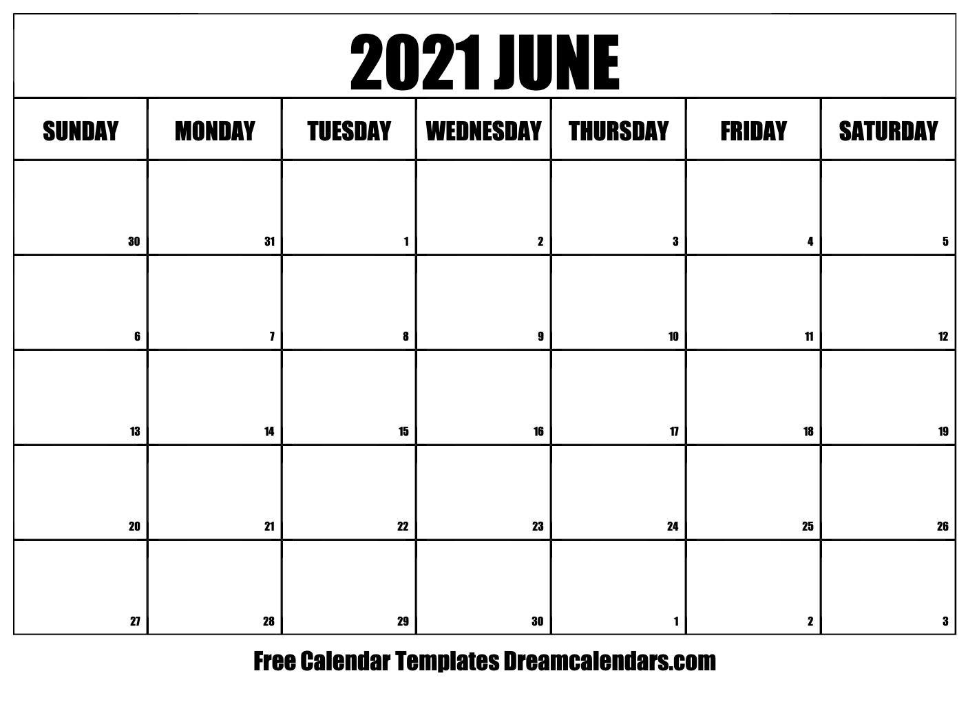 June 2021 Calendar | Free Blank Printable Templates