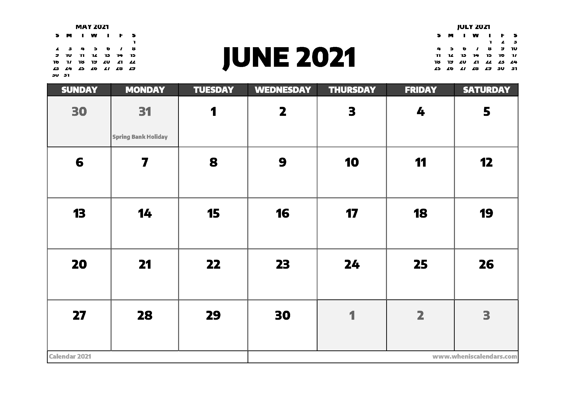 June 2021 Calendar Uk With Holidays In 2020 | Calendar Uk