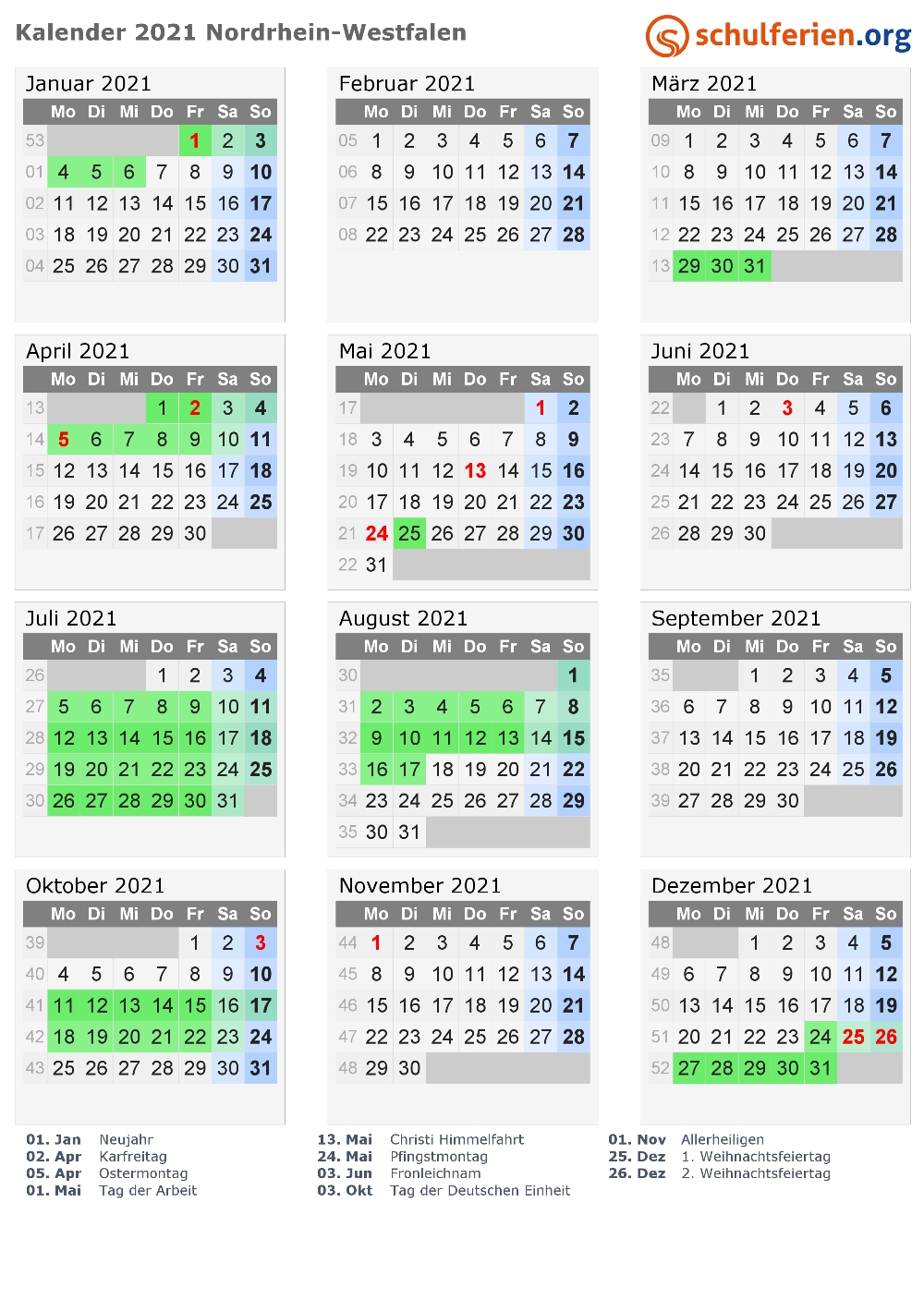 Kalender 2021 + Ferien Nordrhein-Westfalen, Feiertage In