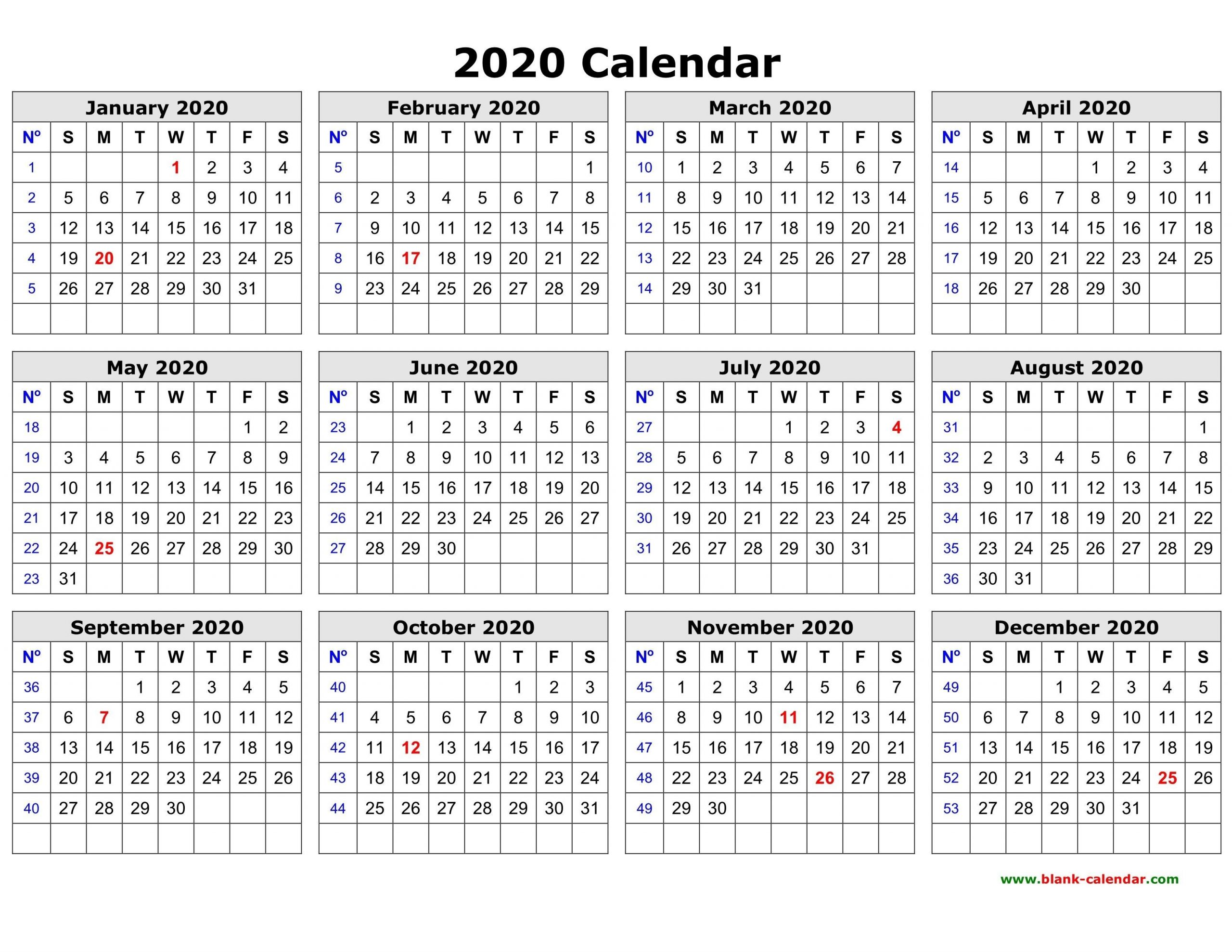 Lovely Printable Calendar 2020 Year – Delightful In Order To