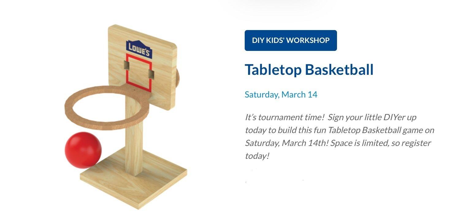 Lowe'S Diy Kid'S Workshop | Tabletop Basketball Hoop | Ship