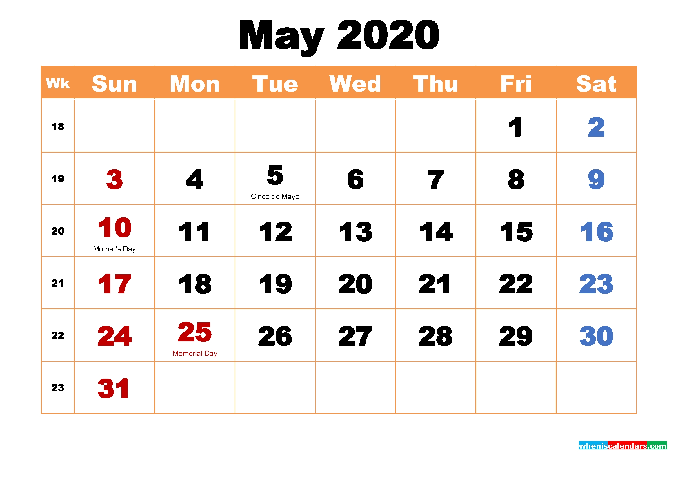 Make 2020 Your Best With Printable Monthly Calendar | By
