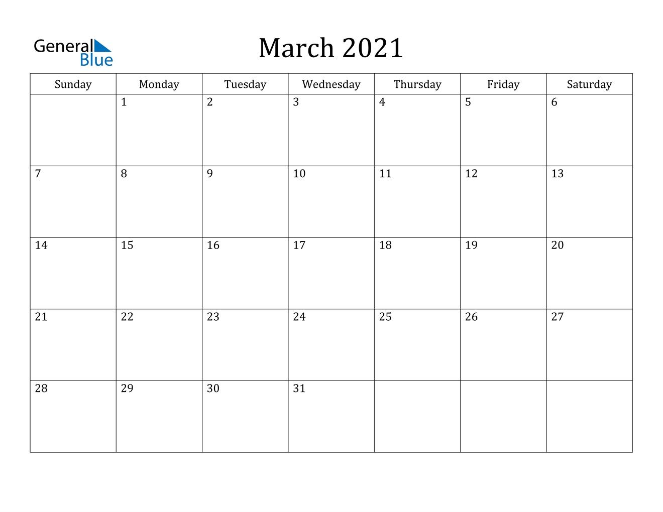 March 2021 Calendar - Pdf Word Excel