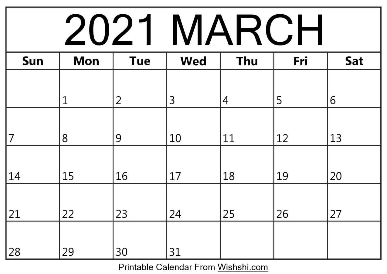 March 2021 Calendar Printable - Free Printable Calendars