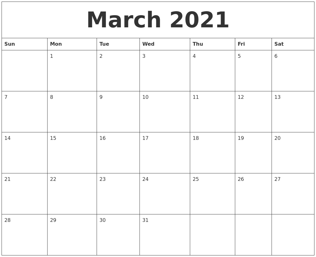 March 2021 Free Printable Monthly Calendar