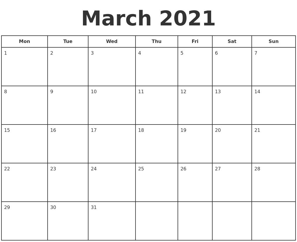 March 2021 Print A Calendar