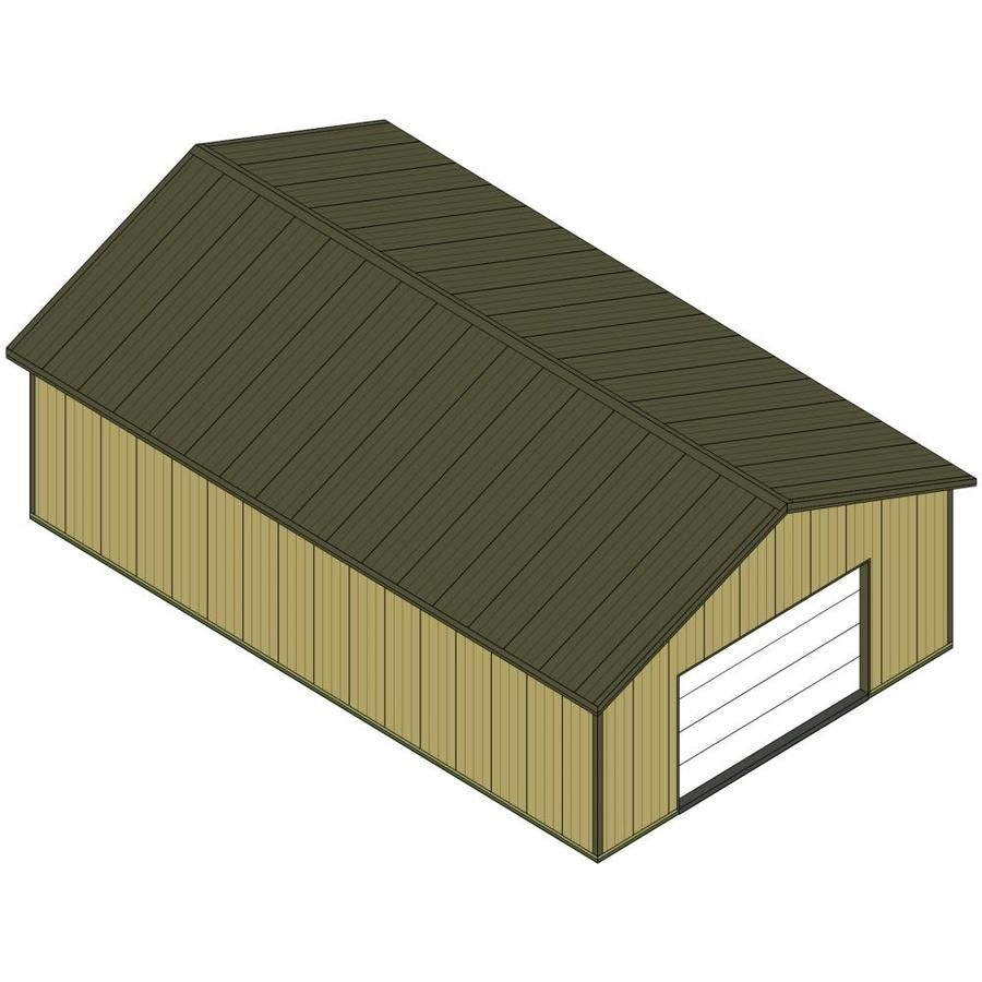 Master Building Components Taupe 30-Ft W X 10-Ft H X 48-Ft L Pole Barn Kit