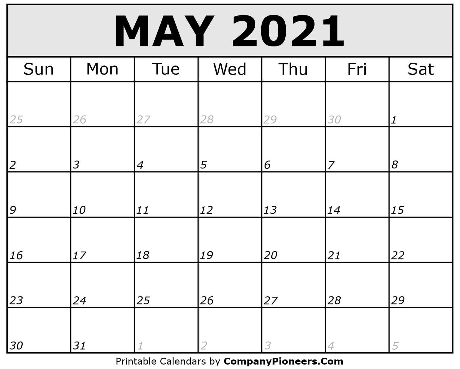 May 2021 Calendar Printable - Printable 2020 Calendars May