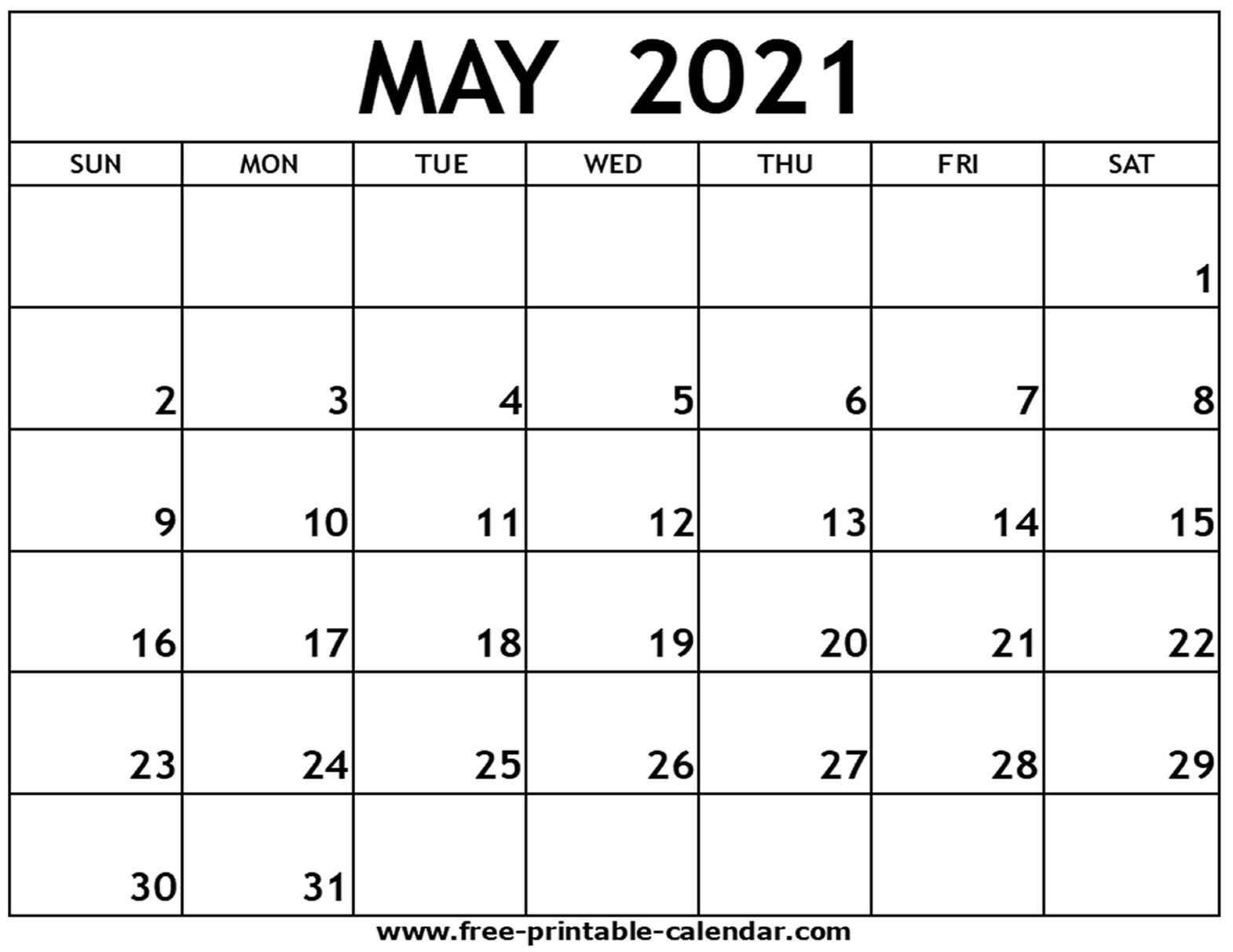 May 2021 Printable Calendar - Free-Printable-Calendar