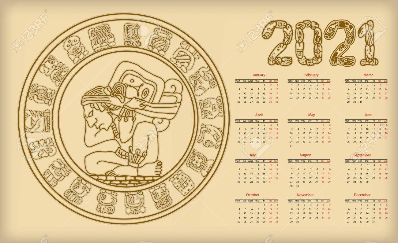 Mayan Calendar. 2021 Calendar Planner Set For Template Corporate..