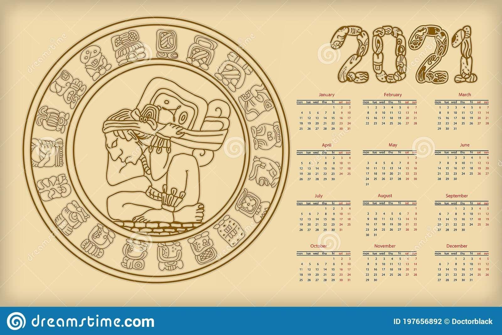 Mayan Calendar. 2021 Calendar Planner Set For Template