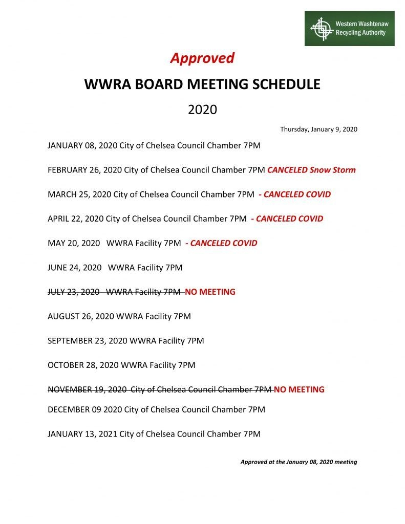 Meeting Schedule And Locations – Western Washtenaw Recycling