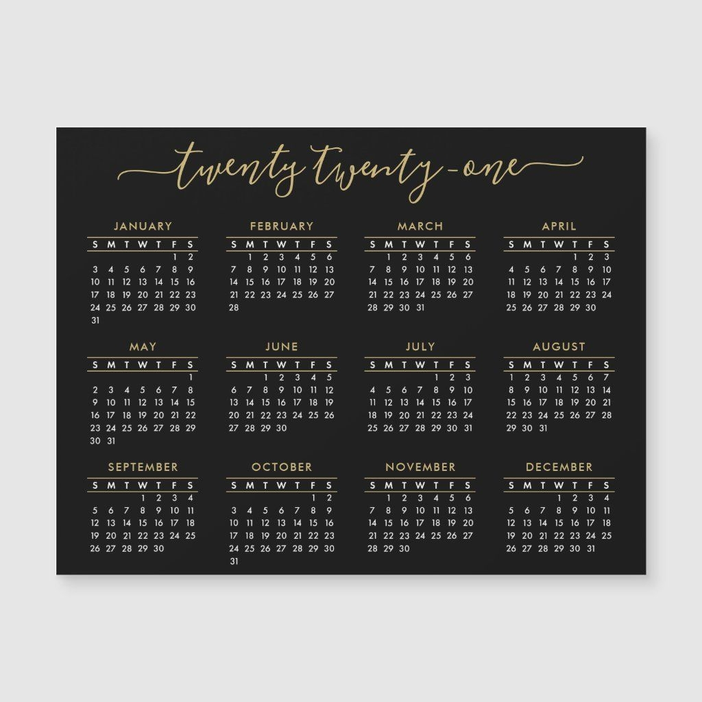 Modern Script Black Gold 2021 Calendar Magnet | Zazzle