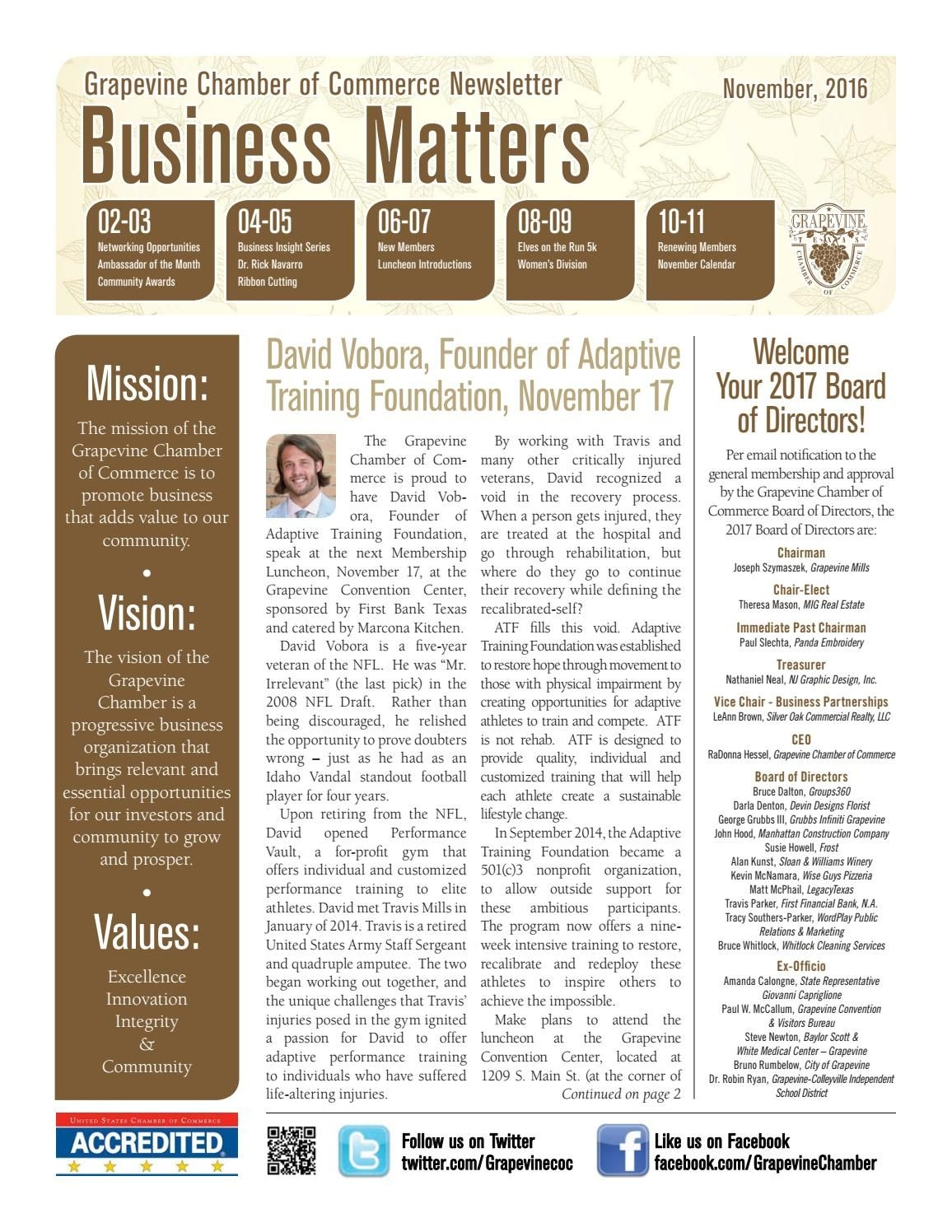November 2016 Monthly Newsletter - Business Matters By