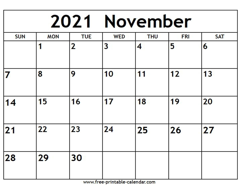 November 2021 Calendar - Free-Printable-Calendar