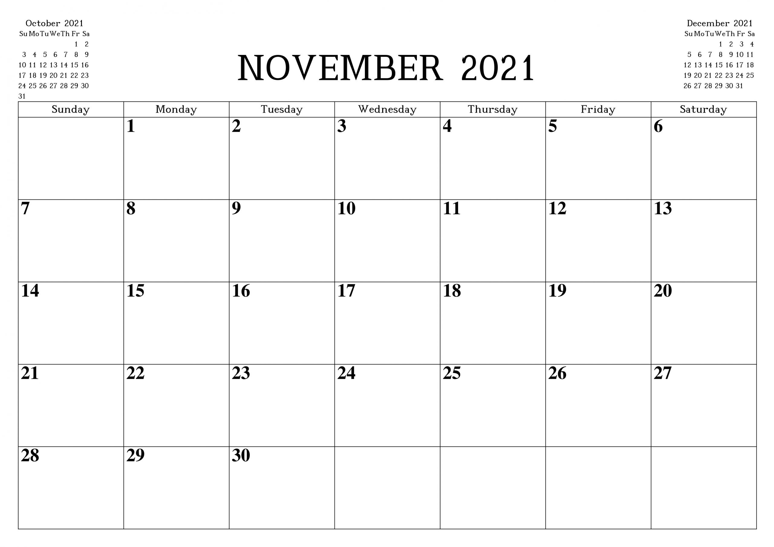 November 2021 Calendar Printable Template – Pdf, Word, Excel