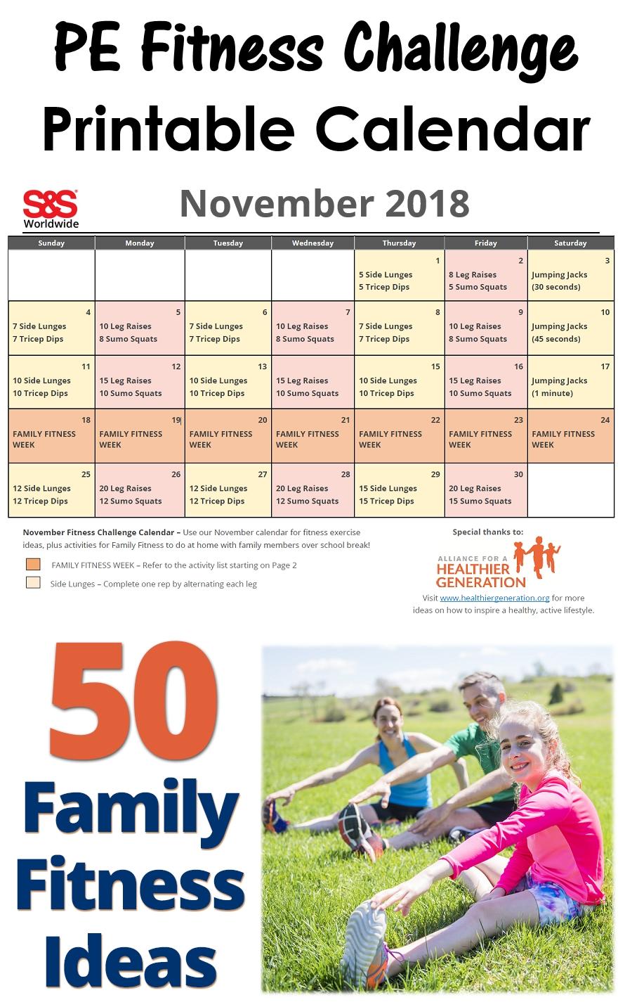November Printable Fitness Challenge Calendar - S&S Blog