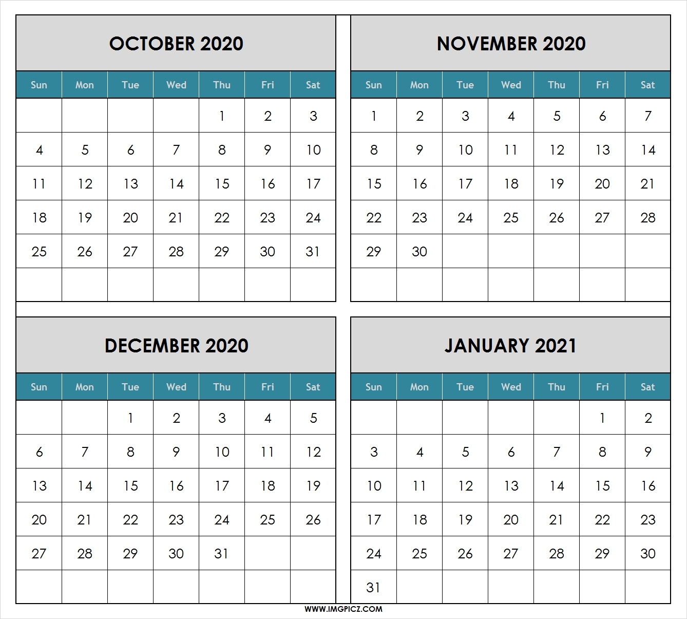 October 2020 To January 2021 Calendar Printable   4 Months