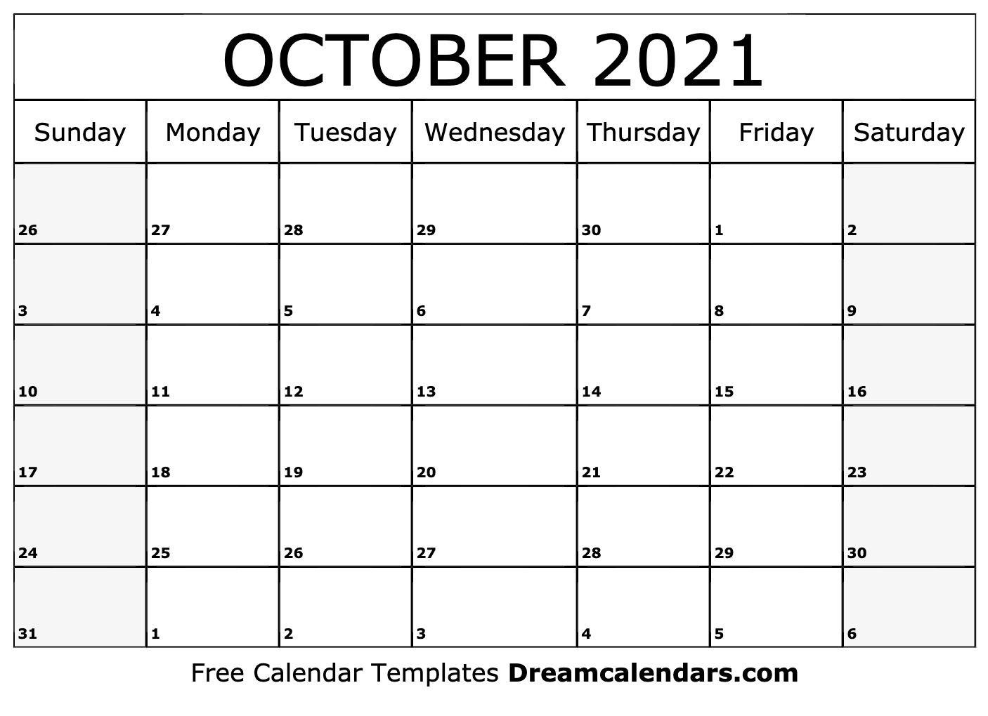 October 2021 Calendar   Free Blank Printable Templates