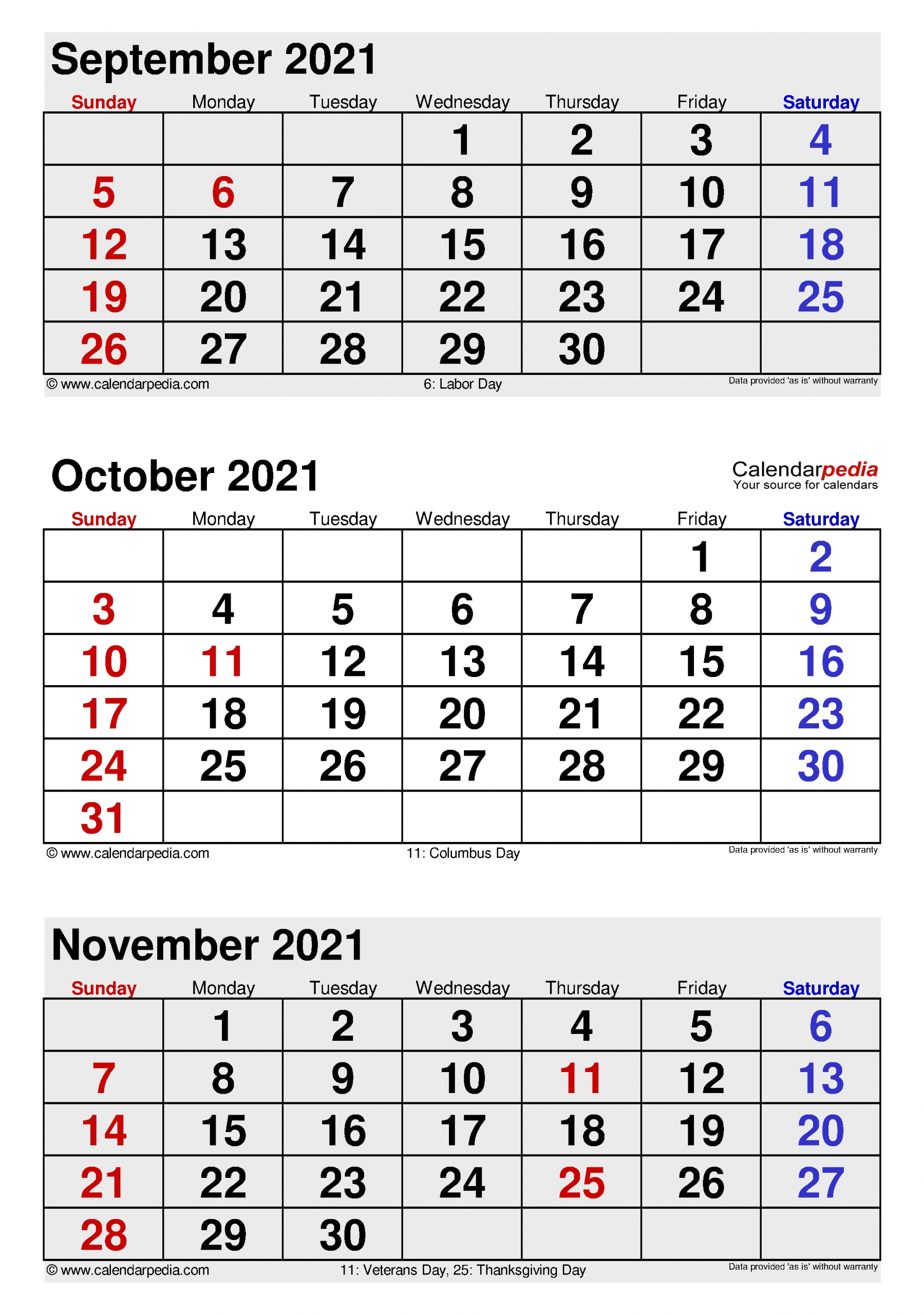 October 2021 Calendar   Templates For Word, Excel And Pdf