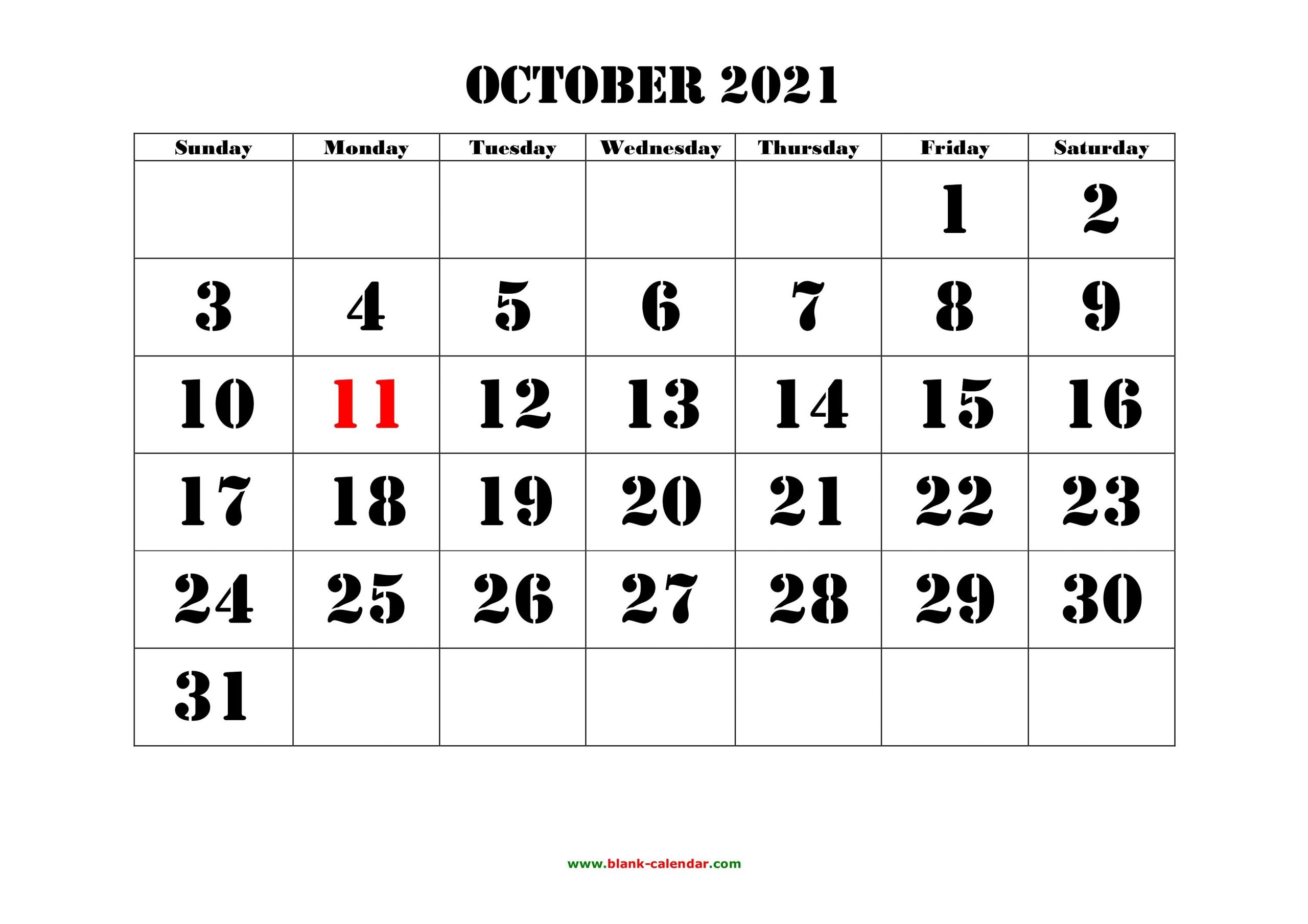 October 2021 Printable Calendar | Free Download Monthly